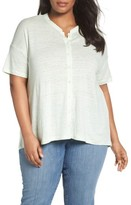Eileen Fisher Plus Size Women's Organic Linen Jersey Mandarin Collar Top