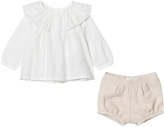 Chloé White Frill Collar Blouse and Tweed Briefs Set