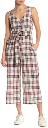 Moon River Plaid Belted Sleeveless Crop Jumpsuit