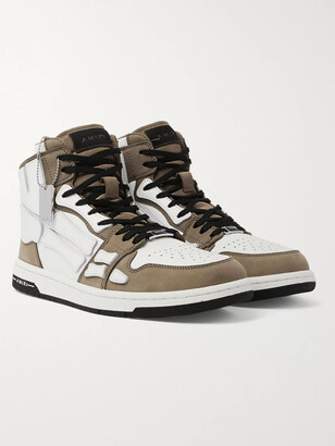 Amiri Skel-Top Grosgrain-Trimmed Colour-Block Leather High-Top Sneakers