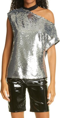 RtA Denim Axel Cold-Shoulder Sequin Blouse