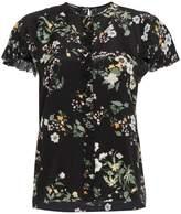 Rochas Silk Floral Print Short Sleeve Blouse