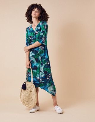 Monsoon Sandra Palm Print Jersey Midi Dress Multi