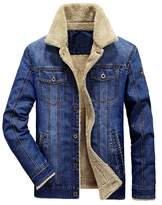 Mordenmiss Men's Long Sleeve Denim Jacket Coat With Front Pockets Blue M