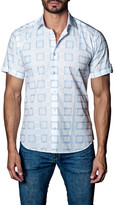Jared Lang Woven Geo Print Short Sleeve Trim Fit Shirt