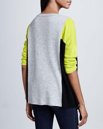 Neiman Marcus Cashmere Colorblock 3/4-Sleeve Top