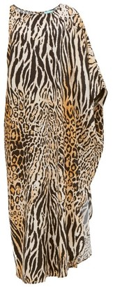 Melissa Odabash Pamela Asymmetric Leopard Print Maxi Dress - Womens - Animal
