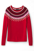Classic Women's Petite Lofty Fair Isle Open Sweater-Fuchsia