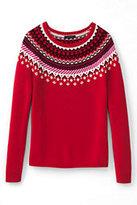 Classic Women's Plus Size Lofty Fair Isle Open Sweater-Bright Scarlet Fairisle