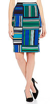 Kasper Stretch Crepe Abstract-Print Straight Pencil Skirt