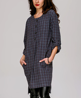 JET Gray & Brown Tab-Sleeve Button-Front Tunic