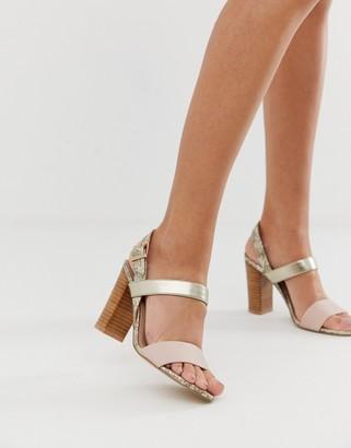 Dune ida block heel sling back sandals in snake-Multi