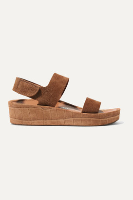 Pedro Garcia Lacey Croc-effect And Matte Suede Wedge Sandals - Tan