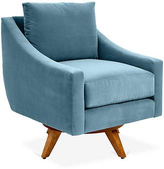 One Kings Lane Nash Swivel Chair - Colonial Blue Crypton