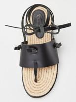 Very Hollie Leather Tie Leg Espadrilles - Black