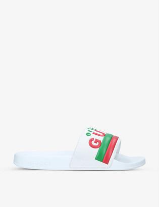 Gucci Pursuit logo-print rubber sliders