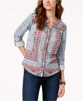 Style&Co. Style & Co Printed Tab-Sleeve Blouse, Created for Macy's