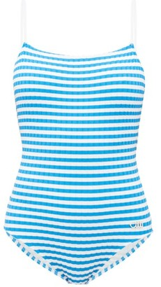 Solid & Striped The Nina Striped Ribbed Swimsuit - Womens - Blue White