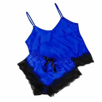 DESIBA Womens Sexy Satin Sling Home Sleepwear Ladies Sexy Home Suspenders Pajamas Underwear Set Lingerie Lace Nightwear Underwear Set(Blue M)