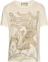 Gucci Paradise bird-print linen T-shirt