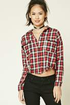 Forever 21 Frayed Plaid Flannel Shirt