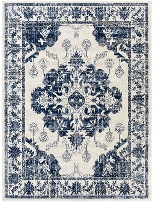 """Bungalow Rose Soundwell Navy/Ivory Rug Rug Size: Rectangle 7'10"""" x 10'"""