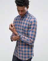Paul Smith PS by Shirt In Check Tailored Slim Fit Orange Blue