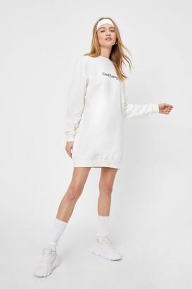 Nasty Gal Womens Good Energy Graphic Sweatshirt Dress - Cream