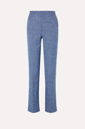 Totême Troia Melange Stretch Cotton And Linen-blend Straight-leg Pants - Blue