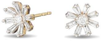 Adina Reyter Diamond Baguette Flower Stud Earrings in Yellow Gold