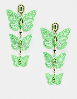 ASOS DESIGN earrings with neon green butterfly drop