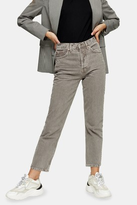 Topshop Womens Taupe Editor Straight Jeans - Taupe