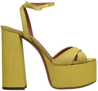 L'Autre Chose Sandals In Yellow Canvas