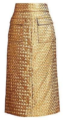 Johanna Ortiz Women's Salida Del Sol Metallic Midi Skirt - Size 0