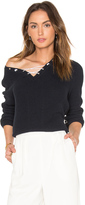 525 America Cotton Shaker Faux Lace Up Sweater