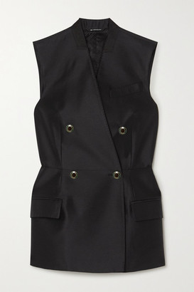 Givenchy Double-breasted Wool And Silk-blend Satin Vest - Black