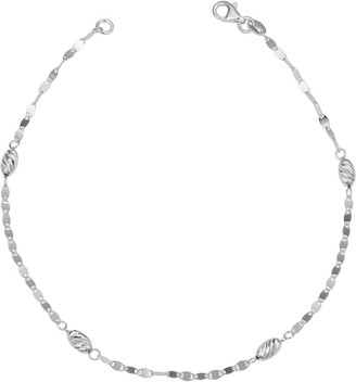 Fremada Sterling Silver Diamond-cut Oval Bead Station Anklet 10 inches)