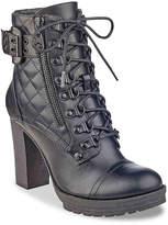 G by Guess Women's Gloss Combat Boot -Cognac