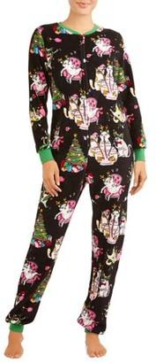 CAT Women's and Women's Plus Christmas Dropseat Union Suit