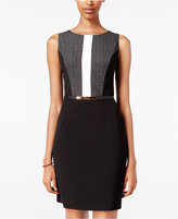 Amy Byer Juniors' Belted Colorblocked Sheath Dress