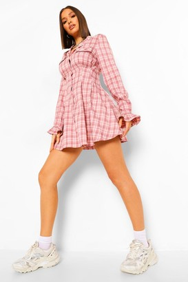 boohoo flanneled Cinched Waist Skater Shirt Dress