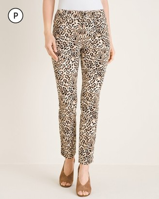 So Slimming Petite Cheetah-Print Girlfriend Ankle Jeans