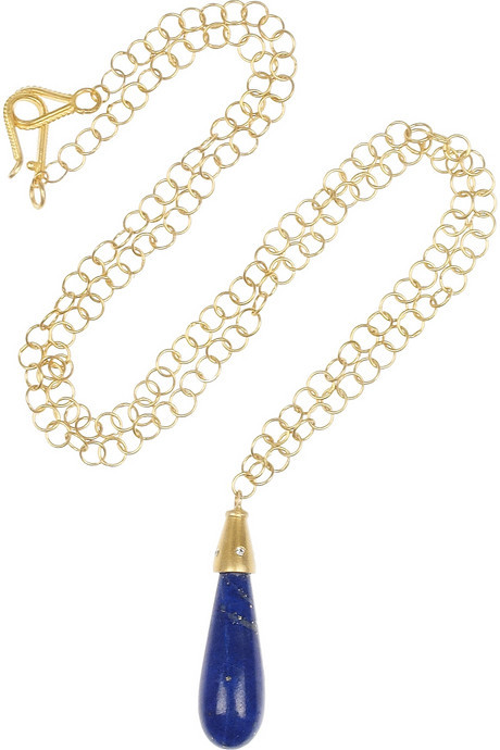 Lapis Halleh 18-karat gold lazuli and diamond necklace
