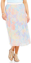 Ruby Rd. Plus Pull-On Painterly Brushstroke Print Gored Chiffon Skirt