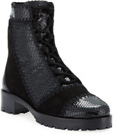 Alexandre Birman Python and Suede Ankle Booties