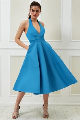 Goddiva Vicky Pattison Azure Halter Neck A-Line Midi Dress