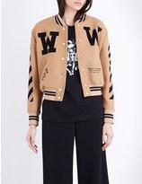 Off-White Cropped wool-blend varsity jacket