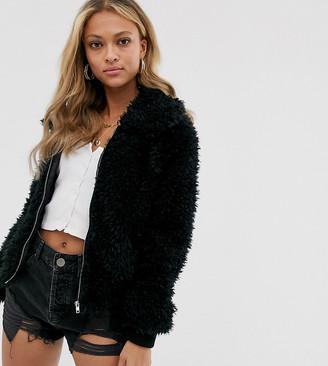 N. Ebonie Ivory ebonie ivory fluffy bomber jacket-Black
