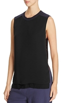 DKNY Thread-Detail Sleeveless Combo Blouse