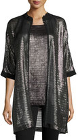 Armani Collezioni Metallic Net Jersey Caban Jacket, Pewter